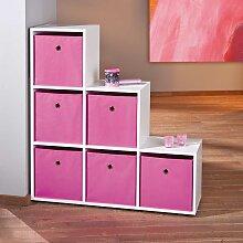 Treppenregal in Weiß pinken Stoffboxen