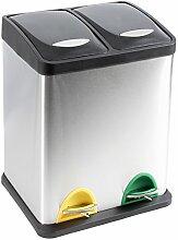 Treteimer Abfalleimer Mülleimer Mülltrennung Edelstahl (16 Liter 2x8L)