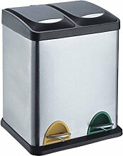 Treteimer Abfalleimer Mülleimer Mülltrennung Edelstahl (30 Liter 2x15L)