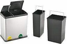 Treteimer Abfalleimer Mülleimer Mülltrennung Edelstahl (35 Liter 12L+23L)