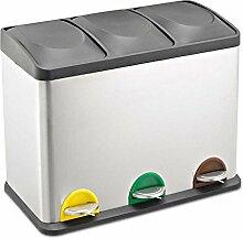 Treteimer Abfalleimer Mülleimer Mülltrennung Edelstahl (45 Liter 3x15L)