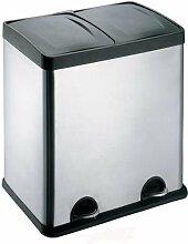 Treteimer Abfalleimer Mülleimer Mülltrennung Edelstahl (60 Liter 2x30L)