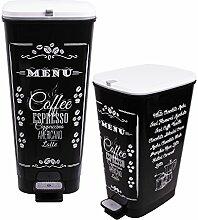 Treteimer Chic Set 25 L + 45 L Coffee Abfalleimer Mülleimer aus Kunststoff geruchsdich