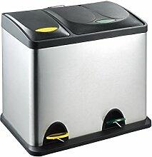 Treteimer Papierkorb Abfalleimer Mülleimer Mülltrennung Edelstahl (26 Liter 18L+8L)