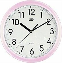 Trevi 3301 - Design-Wanduhr mit Quarzwerk - Kein Ticken - 25cm Durchmesser - Rosa