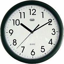 Trevi 3301 - Design-Wanduhr mit Quarzwerk - Kein Ticken - 25cm Durchmesser - Schwarz