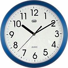 Trevi 3301 - Design-Wanduhr mit Quarzwerk - Kein Ticken - 25cm Durchmesser - Blau