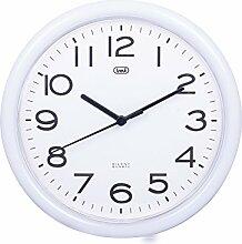 Trevi 3301 - Design-Wanduhr mit Quarzwerk - Kein Ticken - 25cm Durchmesser - Weiß