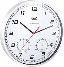 Trevi OM 3321 Wanduhr mit Thermometer / Klimamesser und Quartz, kein Tickgeräusch, gebürstetes Aluminium, Weiß