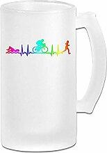 Triathlon Heartbeat-3 DIY Druck Glas Bier Wasser