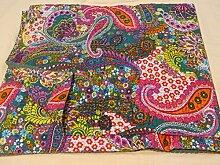 Tribal Asian Textiles 007 Kantha-Steppdecke, handgefertigt, Paisleymotiv, Design: Bohemian, Größe 229 x 274 cm