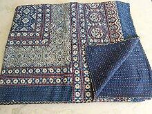 Tribal Asian Textiles Indische Kantha-Tagesdecke mit Ajrak-Druck, Wende-Kanthadecke, Bettüberwurf