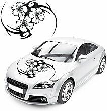 Tribal Auto Aufkleber mit Hibsikus Blumen Florale Design Aufkleber Motorhaube Blüten Sticker |KB130