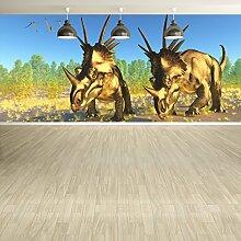 Triceratops Dinosaurier Wandbild Jura Foto-Tapete Kinderzimmer Wohnkultur Erhältlich in 8 Größen Klein Digital