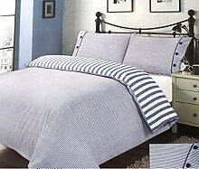 TRICOT & Pillows Online–Set Bettbezug wendbar gestreift, mit Kissenbezug, Einzelbett, 1Platz und Halb oder Doppelbett Einzelbett blau