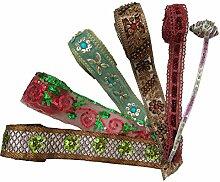Trimmen Pailletten Wulstige Band Menge 6 Stück Mehrfarben Indische Nähen Versorgung Crafting
