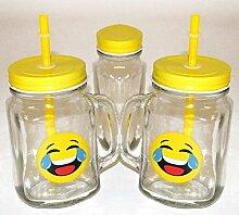 Trink-Set - 2 x emoji Glas Trinkbecher, komplett
