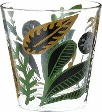 Trinkbecher aus Glas mit Pflanzenmotiv in grün,