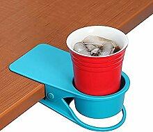 Trinkbecher Halterung Clip–Home Büro Tisch Schreibtisch Seite Riesige Clip Wasser trinken Soda Kaffeebecher Getränkehalter Tasse Untertasse blau