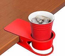Trinkbecher Halterung Clip–Home Büro Tisch Schreibtisch Seite Riesige Clip Wasser trinken Soda Kaffeebecher Getränkehalter Tasse Untertasse ro