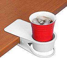 Trinkbecher Halterung Clip–Home Büro Tisch Schreibtisch Seite Riesige Clip Wasser trinken Soda Kaffeebecher Getränkehalter Tasse Untertasse weiß