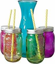 Trinkglas + Deckel + Strohhalm 4er + 1 x Karaffe