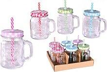 Trinkglas mit Deckel Trinkhalm 6er Set 450ml