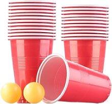 Trinkspiel-Set Bier Pong mit 24 Bechern (je 450