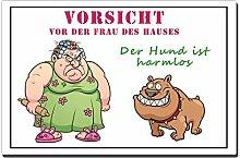 TRIOSK Blechschild Hund lustig mit Spruch Vorsicht