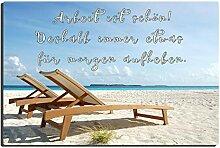 TRIOSK Blechschild Strand lustig mit Spruch Arbeit
