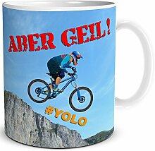 TRIOSK Tasse Downhill Mountainbiker Fahrrad Geschenk für Männer Kollegen, Weiß Bunt, 300 ml