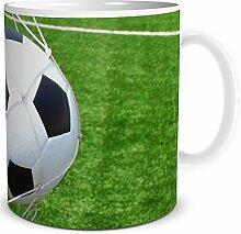 TRIOSK Tasse Fußball Tor, Geschenk Männer Freunde Jungs Kollegen Chef, Weiß Grün Schwarz, 300 ml