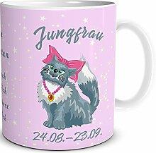 TRIOSK Tasse Katze Sternzeichen Jungfrau Geschenk