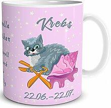 TRIOSK Tasse Katze Sternzeichen Krebs Geschenk