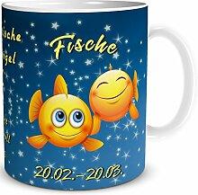 TRIOSK Tasse Smiley Sternzeichen Fische lustiges Geschenk Geburtstag Frauen Männer Freunde Kollegen, Weiß Blau Gelb, 300 ml