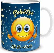TRIOSK Tasse Smiley Sternzeichen Schütze lustiges