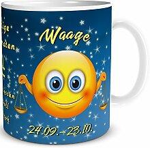 TRIOSK Tasse Smiley Sternzeichen Waage lustiges