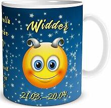 TRIOSK Tasse Smiley Sternzeichen Widder lustiges