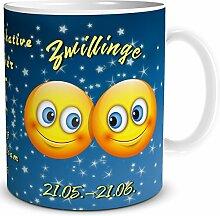 TRIOSK Tasse Smiley Sternzeichen Zwillinge