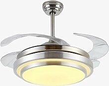 TRIOY Life LED Rauscharm Ventilator Pendelleuchten Runde Silbern Deckenleuchte Kronleuchter Metal und Acrylic Dimmen (Leuchtmittel enthalten)