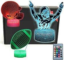 TRIPRO 3D-LED-Schreibtischlampe mit Fußball, 16