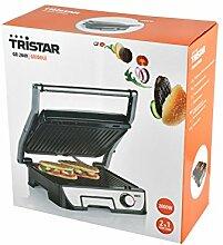 Tristar Edelstahl Kontaktgrill/ Sandwich Grill - 180° aufklappbar mit Handgriff, antihaftbeschichtet, integrierte Fettablauffunktion, GR-2849