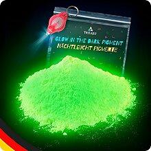 Tritart Leuchtpulver Blau 140g / Pigmente Nachtleuchtend / Phosphoreszierendes Glow Pulver / Neon Farbpulver (Blatt Grün)