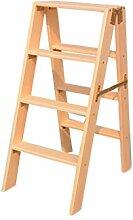 Trittleiter, Human Charakter Ladder Collapsible Step Hocker Haushalt Massivholz Multifunktionsleiter