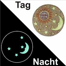 Trittstein Ø26cm nachtleuchtend Sonne und Mond Trittplatte Gehwegplatte