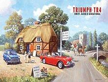 Triumph TR4 in rot motor Auto. Laufwerk in der Land. Für haus, startseite, bar, pub. Metall/Stahl Wandschild - 20 x 30 cm