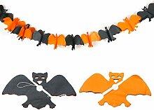 TRIXES gruselige Halloween Fledermaus Papier Girlande Schwarz & Orange Dekoration