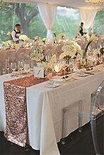 TRLYC 35 x 275 cm Erröten Großhandel von Pailletten Tischläufer Glitz Luxus Hochzeit Tisch Decor Stoff