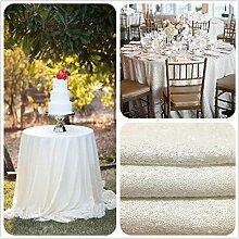 TRLYC Weiße runde Hochzeit Pailletten Tischdecke