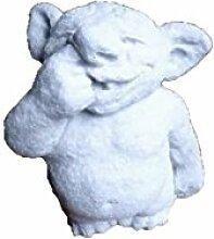Troll mit Finger in der Nase, Steingussfigur, Frostfes